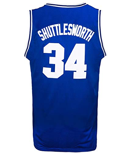JOLI SPORT Men's Basketball Jersey Jesus Shuttlesworth 34 Lincoln High School Basketball Jersey S-XXXL Blue (Large)