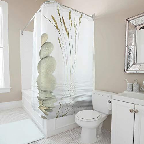 RQPPY Zen Cortina de ducha anillos para cuarto de baño divertidos decoración de baño, poliéster, blanco, 120 x 200 cm