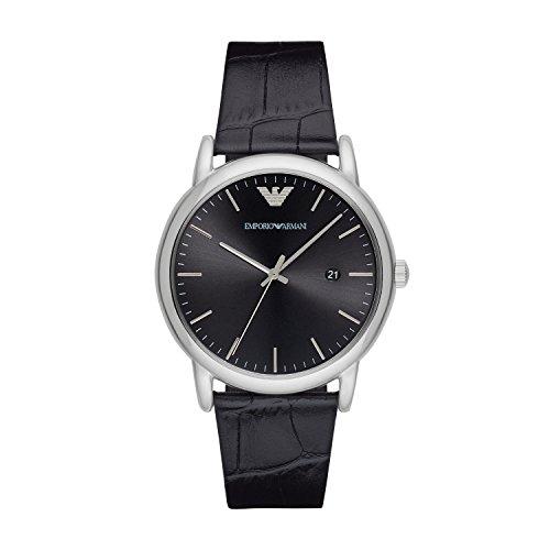 Emporio Armani Herren Analog Quarz Uhr mit Leder Armband AR2500
