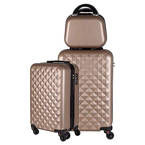 Kit duas malas bordo com frasqueira de mao em ABS - Roncalli Blitz (Dourada)