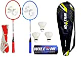 Shivgan Aluminum Badminton - Racket Set of -2 with- 3 Pieces Feather Shuttles -1 Nylon Net with Full- Cover (Multicolour)