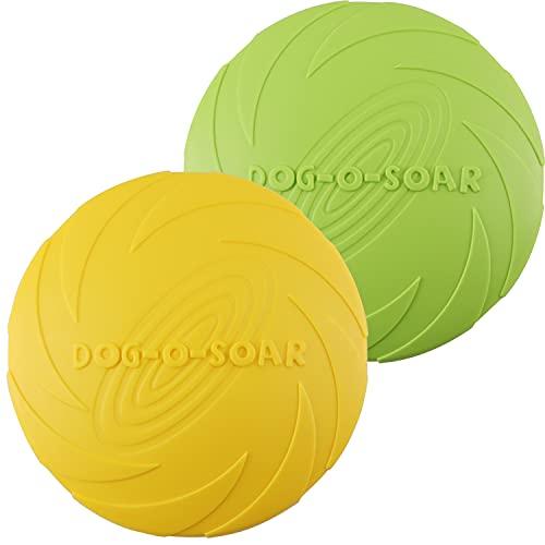 Aoligei Dog Frisbee, Frisbee Hund, Hundefrisbee, Dog Frisbee Disc aus Natürlichem Kautschuk für Land und Wasser, Frisbee Hund Klein für Hundetraining, Werfen, 2PCS Fangen & Spielen (Grün+ Gelb) (M)