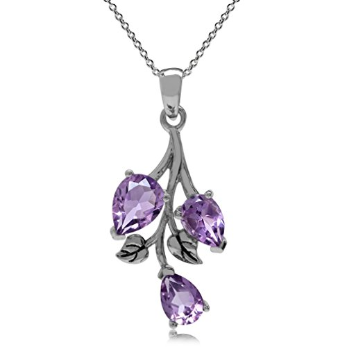 Silvershake 2.28ct. Natural Amethyst 925 Sterling Silver Leaf Pendant with 18 Inch Chain Necklace