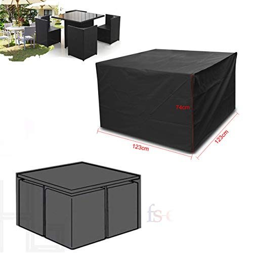 Vinteky Garden Patio Furniture Set Heavy Duty Round/Square Seater Table Waterproof Cover (Square-123 * 123 * 74cm)