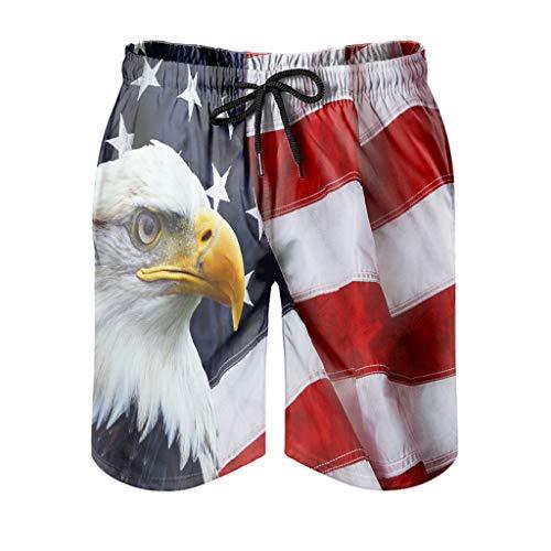 Eagle American Flag - Bañador para hombre, secado rápido, con bolsillos, pantalones cortos de entrenamiento