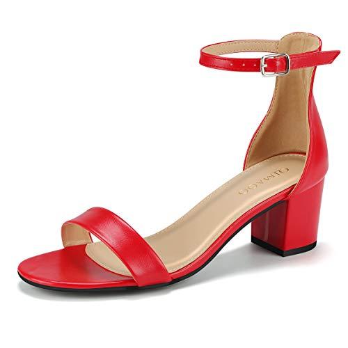 Qimaoo Damen Riemchensandalen 6cm Blockabsatz Sandalen Knöchelriemen Sandaletten Sommer High Heels Schuhe mit Absatz, , rot, 39 EU