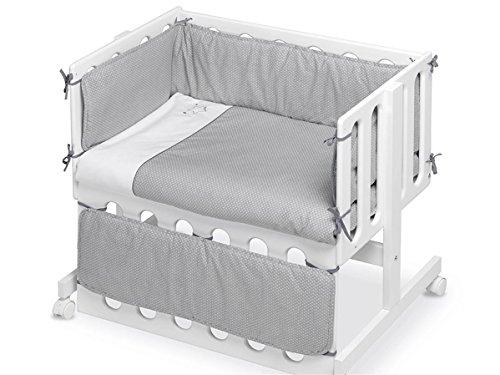 Pirulos 20713120 - Vestidura Minicuna, diseño luna, algodón, color blanco y gris