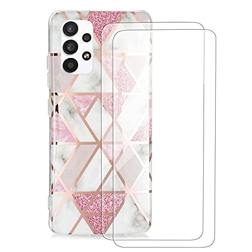 Vansdon Cover per Samsung Galaxy A32 4G,con 2 Pellicola Protettiva in Vetro Temperato,Custodia con Motivo Geometrico Elettrolitico Rosa Cover,Cover in Silicone con Motivo Marmorizzato-Rosa