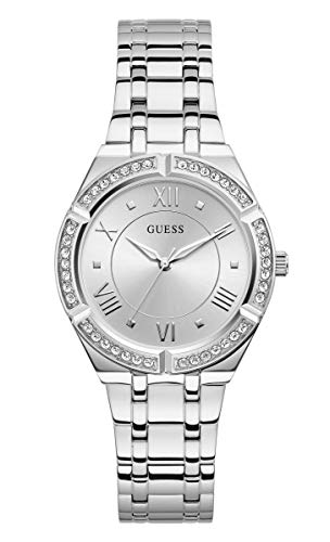 GUESS Women's Analog Quartz Watch with Stainless Steel Strap, Silver, 17 (Model: GW0033L1)