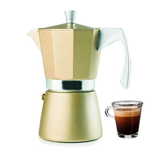 IBILI 623912 Cafetiere Expresso Evva Golden 12, Aluminium, Beige, 12 x 12 x 27 cm