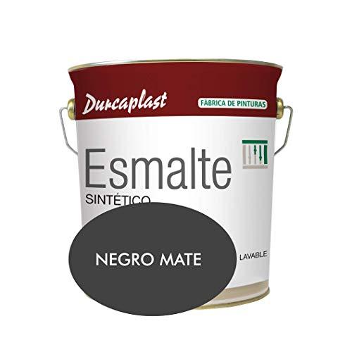 Pintura esmalte sintético Durcaplast, ideal para la protección, decoración y mantenimiento de superficies de hierro y madera. Uso Interior/Exterior (4L, NEGRO MATE)