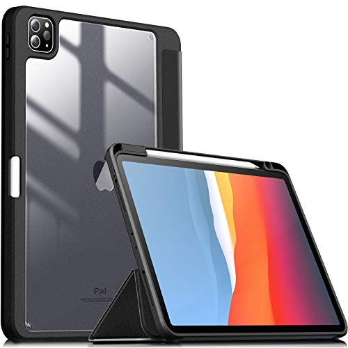 INFILAND Case for iPad Pro 11 inch 2021/2020/2018 Stand Shell, [TPU Soft Edge Shockproof] [Auto Sleep/Wake Cover] [Lightweight Transparent Back] [Pencil Holder Protector], Black