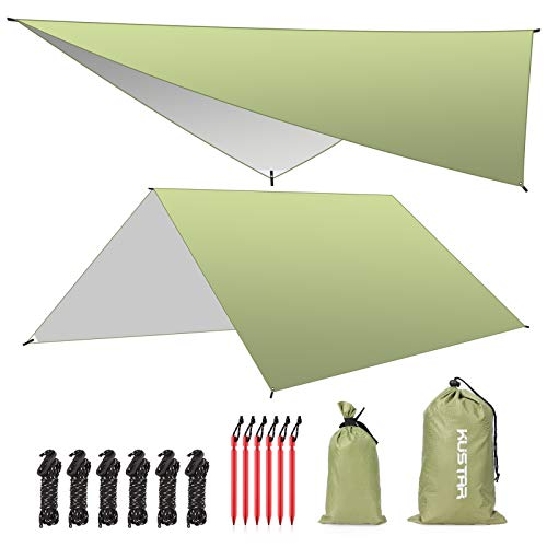 Camping Tarp Waterproof,10x10FT Heavy Duty Hammock Rain Fly Tarp,Lightweight Tent Tarp,Easy Set Up Camping Shelter Canopy for Outdoor Backpacking,Hiking,Survival Gear (Green)