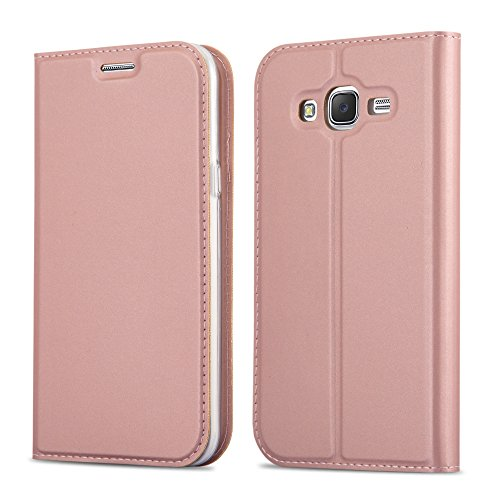 Cadorabo Custodia Libro per Samsung Galaxy Grand Prime in Classy Oro Rosa – con Vani di Carte, Funzione Stand e Chiusura Magnetica – Portafoglio Cover Case Wallet Book Etui Protezione