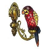 AWCVB Tiffany Lámpara De Pared Lámpara Colorido Vidrio Color Loro Lámpara De Pared Iluminación Vintage Pared De Pared para Sala De Estar Dormitorio