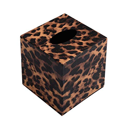 S Forever Home Decor Cube Tissue Box Holders PU Leather Square Tissue Box Cover (Leopard)