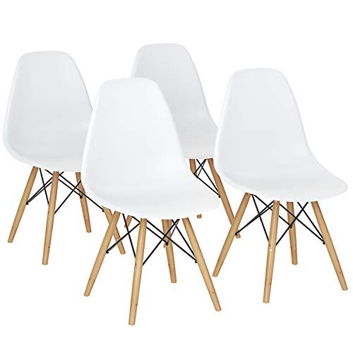 Giantex Set of 4 Mid Century Modern Style DSW Dining Chair Side Wood Assembled Legs for Kitchen, Dining, Bedroom, Living Room (White)