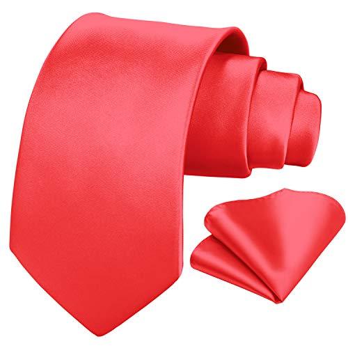 HISDERN uomo rosso solido cravatta fazzoletto da sposa classico cravatta fazzoletto da taschino set