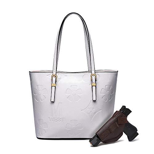 Montana West Tote Bag for Women Travel Monogram Stylish Foldable Handbag for Gun White MWC-G018WT