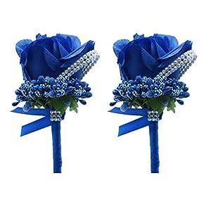 Silk Flower Arrangements Shiwaki 2pcs Artificial Flower Men Boutonniere Handmade Silk Rose Men Corsage for Prom Wedding Party Wedding Supplies Decoration (Royal Blue)