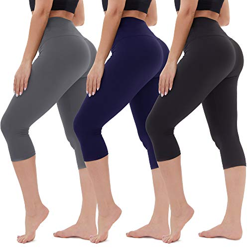 (45% OFF Coupon) 3-Pack High Waisted Capri Leggings Soft Tummy Control $13.19