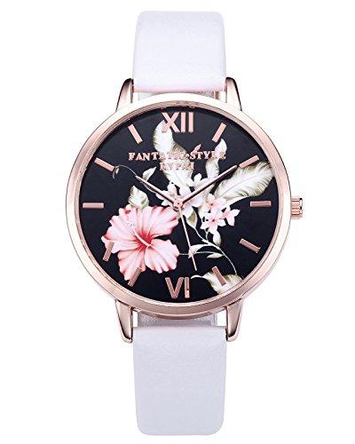 JSDDE Damen Armbanduhr Analog Quarz mit Leder Armband Vintage Klassische Blumen Basel-Stil Weiß