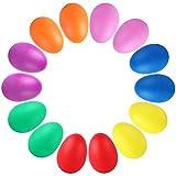 Augshy 14 PCS Plastic Egg Shakers Percussion Musical Egg Maracas Easter Egg Kids Toys (7 Colors)