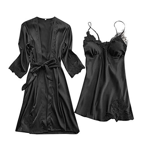 Proumy Pijama Verano de Talla Grande Mujer Kimono Negro Seda con Camisola Conjunto Bata Sexy Vestido de Cama Dos Pieza Ropa de Dormir con Manga de Encaje Floral Sólido Traje de Noche con Cinturón