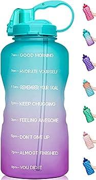 JINBAOYA Bouteille d'eau de 2 L avec marqueur de Temps de Motivation avec Paille, Bouteille d'eau de Sport d'un Demi-Gallon, Tritan Anti-Fuite sans BPA, pour Fitness, Gym et Sports de Plein air