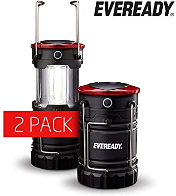 Eveready 360 LED Camping Lantern, IPX4 Water Resistant, Super Bright, 100 Hour Run-time, Battery Powered Outdoor LED Lantern, Black, 2-Pack, Compact