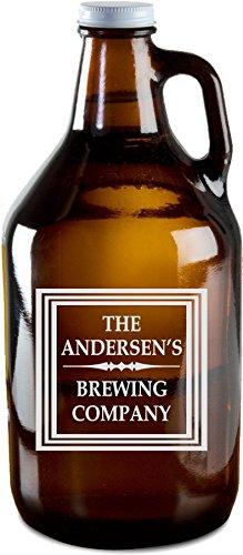 Custom Engraved Home Brewing Growler, Personalized 64 oz Amber Beer Growlers - GR02