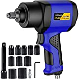 Hausse 1/2' Heavy-Duty Air Impact Wrench, Lightweight Air Impact Gun Drive Wrench with 630 Ft-lbs High Torque Output, Adjustable Power, 10 Wrench Sockets Heavy Duty Wrench Kit