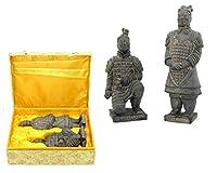 LKAIBIN ホームデコレーション兵馬俑彫刻、中国の兵馬戦士兵士禅寺戦士ヴィンテージ兵士モデルの像