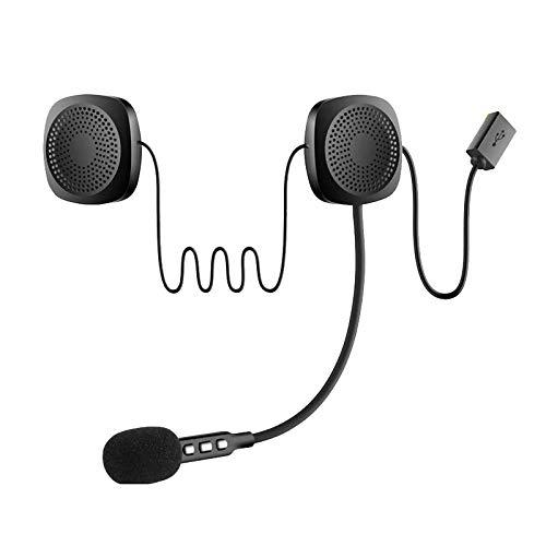 FRTUI Casco Inalámbrico para Motocicleta Auricular e Intercomunicador con Música Estéreo y Kit de Micrófono de Voz para Scooters