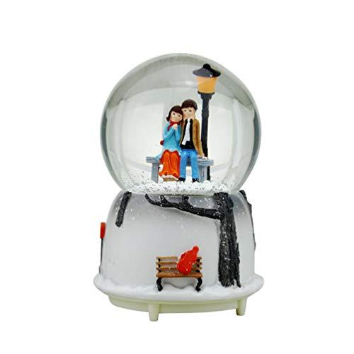 VOSAREA Führte Schneekugel Paar Musikalische Schneekugeln Ornament Liebhaber Spieluhren für Ihre Mädchen Geburtstag Batterie Sitzhaltung