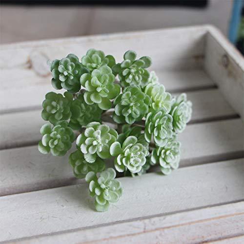 1 plante succulente artificielle sans pot - Mini plantes réalistes - Fausse plante grasse texturée - Décoration d'intérieur - Décoration de paysage (blanc vert)
