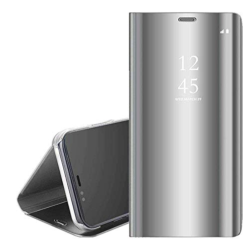 QC-EMART Étuis à Rabat pour Samsung Galaxy A50 Coque Portefeuille Folio Housse Miroir Transparent Clear View Style de Livre Antichoc Etui Protection Téléphone Portable Case Cover Argent