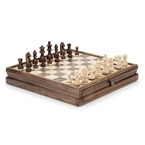 AampA 15quot Wooden Chess amp Checkers Set w/Storage Drawer w/3quot King Height Chess Pieces / 2 Extra Queen/German Knight Staunton Wooden Chessmen/Walnut Wood Chess Board/Classic Board Game