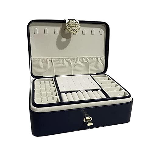 W-HUAJIA Caja de joyería de Madera Maciza, Caja de Almacenamiento portátil, Caja de joyería, Caja de joyería de talón, Caja de Pulsera, Caja de Reloj, Collar Caja (Color: Azul) (Color : Blue)