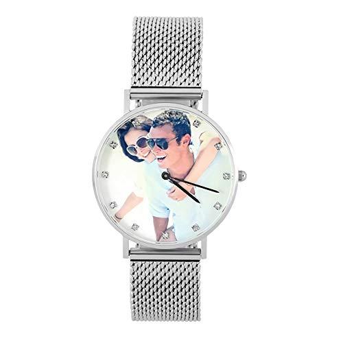 Reloj Fotográfico Personalizado Reloj Artesanal con Foto Personalizada Reloj de Hombre Relojes de Cuarzo Reloj de Pulsera para Hombre Unisex Mensaje Grabado Reloj de Pulsera para Los Amantes