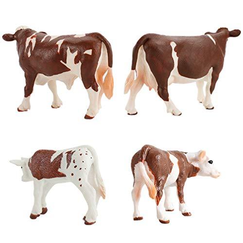 Tomaibaby 4 Piezas Juguetes de Vaca Figuras de Vaca Estatuilla Educativa Figuras de Juguete de Animales de Granja