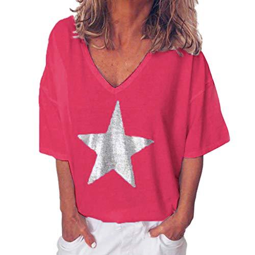 T-Shirt Bluse Frauen Sommermode Solid Bling V-Ausschnitt Kurzarm Tops (3XL,Pink)