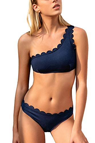 CUPSHE Damen Bikini Set One Shoulder Bandeau Bikinioberteil Wellenkante Strandmode Zweiteiliger Asymmetrischer Badeanzug Blau M
