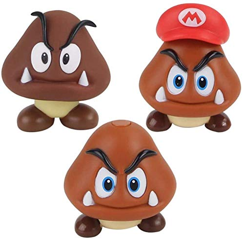 Yzoncd 3 Pieces Super Mario Bro Goomba PVC Figure Collectible Model Toys Lovely Mushroom Dolls Gift for Children