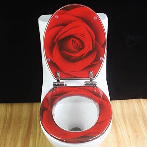 WEITONG Sedile WC Rosa Rossa, Copriwater Universale in Resina U/V/O, Tavoletta WC Imbottito Chiusura Lenta, con Cerniera in Acciaio Inossidabile, Facile da Pulire E Installare