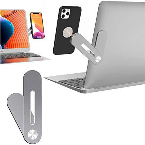 Soporte para teléfono móvil para ordenador portátil – 12 x 3 x 0,5 cm, soporte lateral para teléfono, clip de montaje lateral, soporte de extensión para portátil.