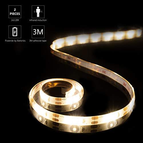 YOUKOYI Luces de tira LED con sensor de movimiento, 2 piezas impermeables cuerdas LED batería operada 4000K SMD2835 blanco cálido cinta LED para armario estante gabinete cocina(2x1M)