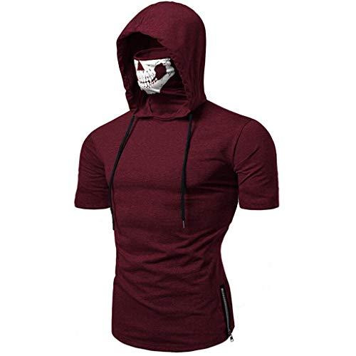 SANFASHION Herren Hooded Mens Mask Skull Druck Splice Tops,Pure Color Reißverschluss Mode Revers Kurzarm Hemd Kurzarm Shirt