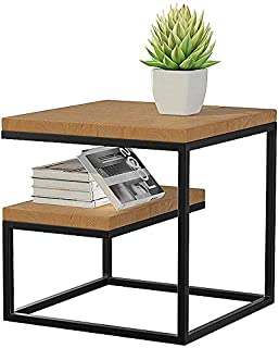 INDIAN DECOR 45279 GEE Table Coffee Table, Industrial Sofa Table Vintage Wood Top Table with Storage Shelf and Metal Frame...