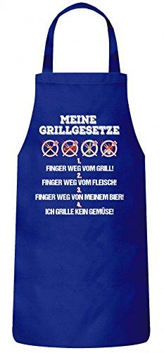 ShirtStreet Grillen Grill Party Frauen Herren Barbecue Baumwoll Grillschürze Kochschürze Meine Grillgesetze, Größe: onesize,Royal Blau